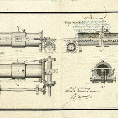 Progetto del motore a stantuffi contrapposti del 1858