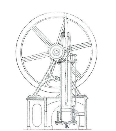 """Sezione del motore Barasnti e Matteucci conforme alla descrizione """"Benini"""" del 1856"""