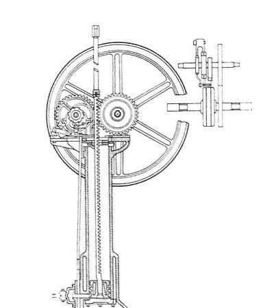 Sezione del motore Otto e Langen del 1867